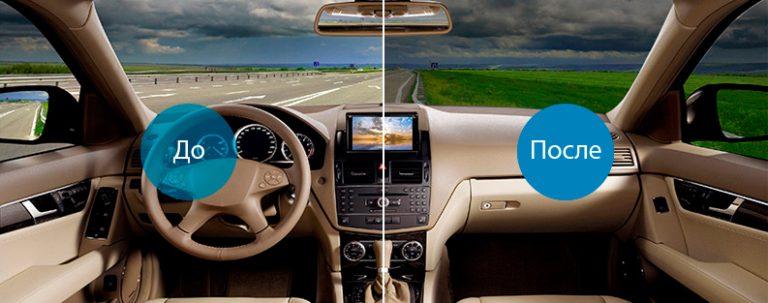 Тонировка стекол автомобиля в Красноярске до и после